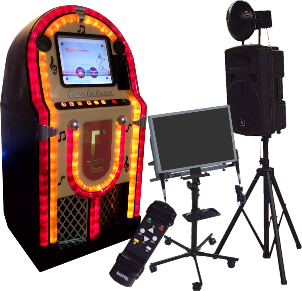 Coin Operated Jukebox, Karaoke monitor and speaker plus light.